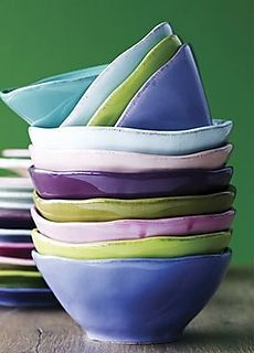 and the bowls were stacked merrily in shades of aqua, violet, and celedon = color inspiration Ceramic Clay, Ceramic Bowls, Ceramic Pottery, Stoneware, Pottery Bowls, Pottery Ideas, Keramik Design, Plates And Bowls, Color Combos