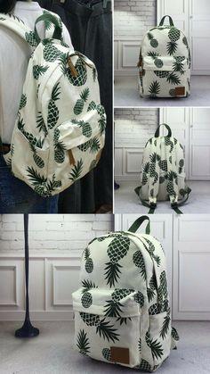 Pineapple Canvas Backpack – Larry's Goods LLC Cute Backpacks, School Backpacks, Teen Backpacks, Leather Backpacks, Leather Bags, Everyday Items, Everyday Bag, Pineapple Clothes, Cute Pineapple