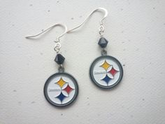 Pittsburgh Steelers Logo Football Dangle by OldeTowneJewelry, $22.00
