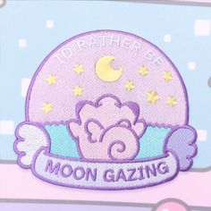 I'd rather be Moongazing Clefairy Patch - Iron On Cute Patches, Pin And Patches, Iron On Patches, Pokemon, Pastel Fashion, Cool Sketches, Embroidery Patches, Mo S, Cute Pins
