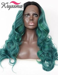 Kryssma Halloween Ombre synthetic lace front wigs For Black Women Dark Roots To Deep Green With Highlights Middle Part Long Wavy Glueless Synthetic Hair Full Wig Heat Resistant 24 Inches ** Click image to read more details. Synthetic Lace Front Wigs, Synthetic Hair, Ombre Green, Two Ponytails, Dark Roots, Wigs For Black Women, Wig Cap, Ponytail Hairstyles, Hair Wigs