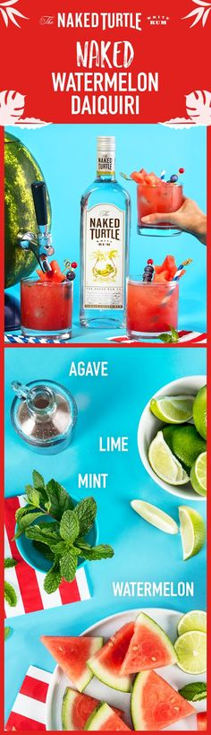 The Naked Turtle takes pride in using fresh cocktail ingredients. This Fourth of July, be the perfect party host with the Naked Watermelon Daiquiri! For this festive red, white, and blue recipe, muddle ½ large watermelon, 20-25 mint leaves, ½ cup fresh lime juice & 2.5 oz. agave nectar at the bottom of a pitcher. Add ice and 1 cup of The Naked Turtle White Rum. Stir well, strain into watermelon keg with ice. When serving, garnish with a pinch of salt, watermelon, & blueberries! (Serves 5)