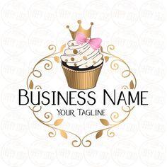 Cake Logo Design, Custom Logo Design, Custom Logos, Crown Cupcakes, Gold Cupcakes, Pink Gold Cake, Pink And Gold, Ideas Para Logos, Pastry Logo