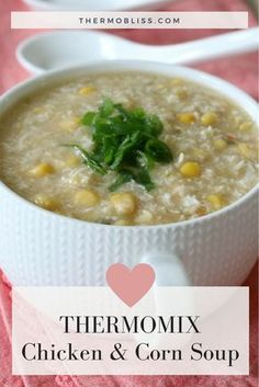 Keep warm this Winter with a big bowl of Thermomix Chicken & Corn Soup. Chicken Corn Soup, Chicken And Sweetcorn Soup, Sweet Corn Soup, Chicken Noodle Soup, Thermomix Recipes Healthy, Thermomix Soup, Thermomix Desserts, Corn Soup Recipes, Dinner Recipes