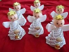 Yule Crafts, Angel Crafts, Diy And Crafts, Christmas Crafts, Christmas Decorations, Christmas Angel Ornaments, Christmas Feeling, Paper Weaving, Newspaper Crafts