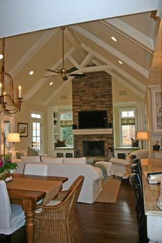 Love the tall ceilings. A ceiling fan is a must here in Arizona. Plus the fireplace makes it feel like a home.