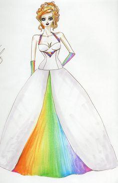 Colorful rainbow wedding dress design by Lovelle Fashion Design!