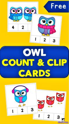 Free owl Count and Clip Cards #counting #clipcards #owltheme #mathcenters Owls Kindergarten, Owl Preschool, Preschool Themes, Preschool Classroom, Kindergarten Activities, Preschool Centers, Classroom Teacher, Preschool Curriculum, Preschool Worksheets