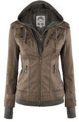 Trendy Hooded Long Sleeve Faux Twinset Pocket Design Jacket For Women (KHAKI,XL) | Sammydress.com Mobile