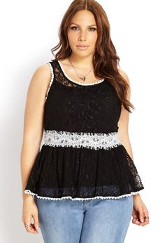 Bombshell Lace Peplum Top - Forever21+