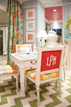 fun and colorful. Maybe something like this, but less girly, for basement family room