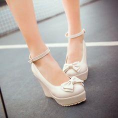 Womens Wedge Stylish Platform Ankle Strap Bow Faux Leather Mary Jane School Se