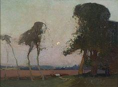 Sydney Long - The Hour of Romance 1914 Australian Painting, Australian Artists, Nocturne, Long Painting, Painting Gallery, Art For Art Sake, Landscape Paintings, Landscapes, Game Art