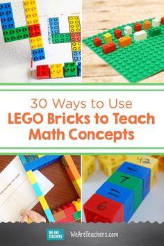 LEGOs make terrific manipulatives in the classroom. Ue LEGO math to teach counting, arithmetic, geometry, graphing, and much more. Montessori Math, Preschool Math, Kindergarten Math, Teaching Math, Math Teacher, Teaching Tools, Teacher Stuff, Math Games, Math Activities