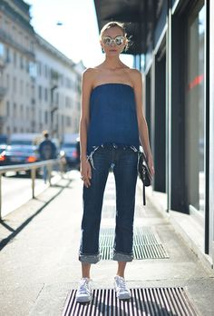 Street style outfit inspiration: what to wear with strapless tops from @stylecaster | chambray top, cuffed denim, sneakers