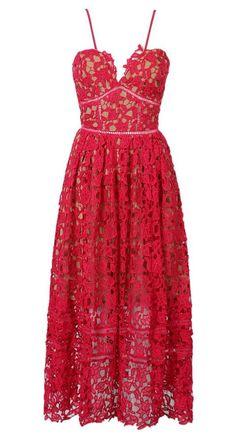 Red Spaghetti Strap Crochet Lace Midi Dress