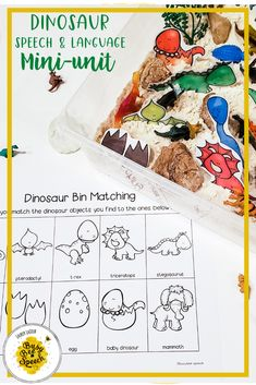 This speech therapy activity is dinosaur themed! It's a mini unit that's filled with all the speech therapy materials that I do with my students for every theme! It includes editable worksheets, sensory bin activities, play dough activities, and more!