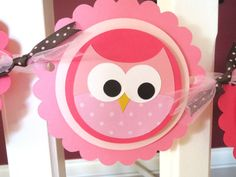 Girl Happy Birthday Banner Owl Flower Diecut by Wildflowercraft, $28.00