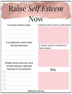 'Raise Your Self-Esteem' printable to pull your self-esteem up during stressful times or when someone criticises you. Source by whatnicolewore ideas for teens Self Esteem Activities, Self Esteem Worksheets, Group Therapy Activities, Mental Health Activities, Therapy Worksheets, Cbt Worksheets, Counseling Worksheets, Counseling Activities, Therapy Tools