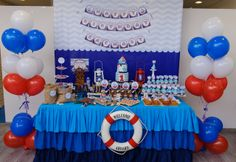 Simply Divine Event Decor G's Baby Shower / Sailor/nautical - Photo Gallery at Catch My Party Nautical Mickey, Theme Mickey, Nautical Party, Nautical Baptism, Sailor Birthday, Sailor Party, Boy Birthday, Birthday Ideas, Sailor Baby Showers