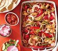 Chicken Fajitas: Recipes: Self.com : The bell peppers in this dish work to keep your skin looking great. Their vitamin C helps build firming collagen and fends off damaging free radicals. via @SELF Magazine