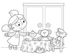 Illustrazione: Bambina che gioca a servire il te alle bambole