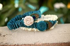 Antique White and Teal Garter Set With Peacock by plainNfancy, $30.00