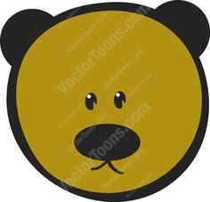 Cute Brown Teddy Bear Emoticon Looking Straight Ahead #adorable #animal #bear #cuddly #cute #doll #emotion #expression #face #feeling #mood #PDF #smiley #teddy #toy #vector-graphics #vectors #vectortoons #vectortoons.com
