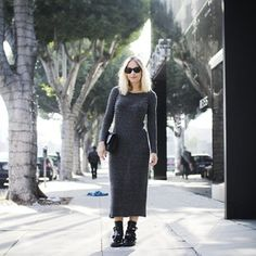 Meeting and strolling on Robertson Blvd in comfiest dress ever and currently-living-in Balenciaga boots (snapped by @Anna Nooshin last week. Me and the city miss you baby!)