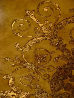 gold decorative ceiling accents - gold - golden -ceiling decor