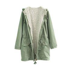 Dot Print Green Hoodied Coat | pariscoming
