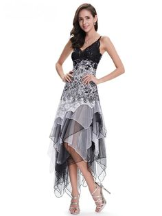 bfaf41296d7 Sexy V-Neck Black And White Lace Empire Long Party Dress · Slim Fit DressesSimple  ...