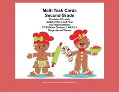 This is a great way to offer your class practice and review in an important second grade math skill. Your students will enjoy the Gingerbread graphics as they practice. Task cards are great for individual practice, early finishers, and class practice. This collection has 32 task cards to practice adding three and four two-digit numbers. A student answer sheet and key are included. Addresses CCSS.Math.Content.2.NBT.B.6