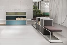 A modular, continually reconfigurable micro-architectural system, designed to define and organise spaces. Acoustic Panels, Tecno, Lighting System, Design Projects, Divider, Minimalist, Shelves, Interior Design, Exhibitions