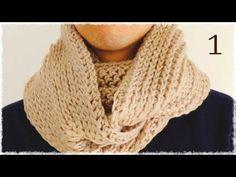 スヌードの編み方・作り方(メンズ・かぎ編み・引き上げ編み) diy crochet cowl tutorial - YouTube