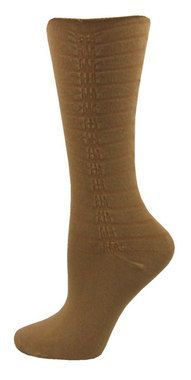 Vertical Scrunch Crew Socks - Camel