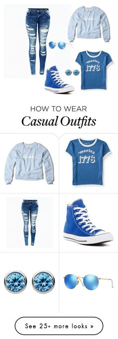 """Daughter of Poseidon casual"" by jesialoren on Polyvore featuring Converse, Aéropostale, Hollister Co., Ray-Ban and Thomas Sabo"