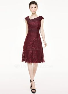 [US$ 139.99] A-Line/Princess Knee-Length Chiffon Lace Mother of the Bride Dress With Ruffle Beading Flower(s) Sequins