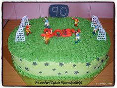 Soccer cake SweetArt Cakes Bloemfontein for all your cake & cupcake needs.  (Workshops available)  For more info & orders email sweetartbfn@gmail.com or call 0712127786. Soccer Cake, Sweetarts, Cupcake Toppers, Fondant, Icing, Cake Decorating, Birthday Cake, Cupcakes, Sport