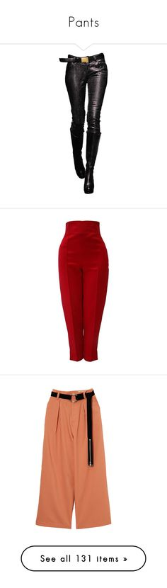 """Pants"" by thesassystewart on Polyvore featuring legs, pants, doll parts, dolls, doll legs, red, red trousers, high-waisted trousers, slim fit pants and high-waist trousers"