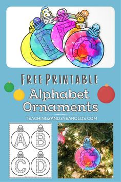 This Christmas ornament printable can be used as a tag on gifts or to be hung on the tree. Or use as an alphabet recognition activity! Christmas Activities For Toddlers, Preschool Christmas, Toddler Christmas, Crafts For Kids, Preschool Activities, Letter Ornaments, Paper Ornaments, Christmas Ornaments, Christmas Decorations For The Home