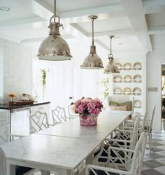 Dining room open to kitchen - Macau Chair Yoke Pendant white faux bamboo chairs rustic wood white dining table, white kitchen Yoke Pendant Home Design, Design Ideas, Design Inspiration, Kitchen Inspiration, Wall Design, Design Art, Sillas Chippendale, Industrial Chic Decor, Industrial Lighting