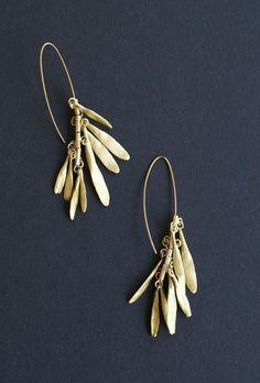 Just Custom Jewelry - Listings View Otto Dangle Leaves Brass Long Earrings.