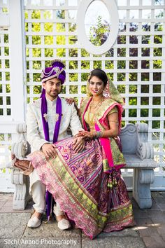 Fabulous indian bride and groom wearing their wedding outfits. http://www.maharaniweddings.com/gallery/photo/86784