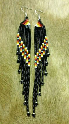 Native American 4 1/2 Long Black/Multi by prettyuniquedesigns2, $20.00