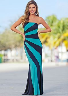 Colorblock strapless maxi in the VENUS Line of Dresses for Women