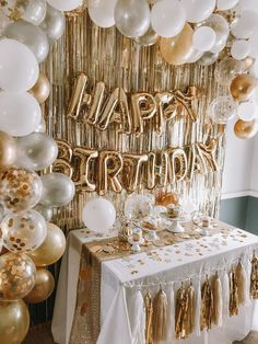 Gold Birthday Party, Birthday Party For Teens, Birthday Ideas For Her, 20th Birthday, Birthday Party Themes, Golden Birthday Themes, 30th Birthday Balloons, 25th Birthday Parties, Birthday Table