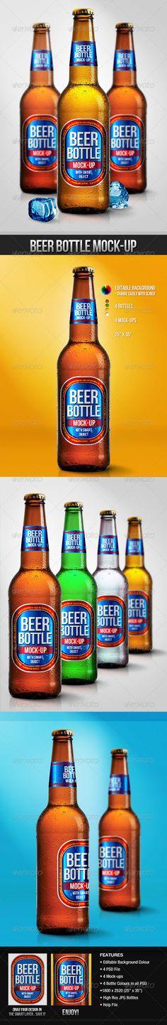 Beer Bottle MockUps — Photoshop PSD #frost #liquor • Available here → https://graphicriver.net/item/beer-bottle-mockups/3099590?ref=pxcr