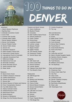 A comprehensive list of 100 things to do in Denver, Colorado. … Read More 100 Things To Do In Denver Vail Colorado, Breckenridge Colorado, Estes Park Colorado, Road Trip To Colorado, Living In Denver Colorado, Moving To Colorado, Colorado Mountains, Moving To Denver, Boulder Colorado