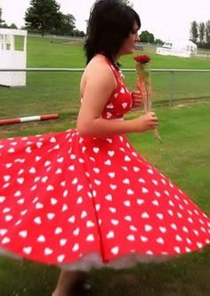 Looking beautiful at her prom in our 1950s Halterneck Circle Dress in Red Sweetheart. http://www.vivienofholloway.com/  #Vivienofholloway Vivienofhollowaywedding #VivienHolloway #VoH #Vintagereproduction #madeinlondon #1950sstyle #1950sfashion #1950s #1950sglamour #pinupgirl #pinup #rockabilly #rockabillygirl #rockabillyclothing #pinupfashion #1950sDress #1950sHalterneckDress #1950sCircleDress